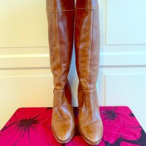 Knee high brown vintage leather boots